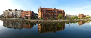 Panorama with buildings over the Brda in Bydgoszcz, Poland