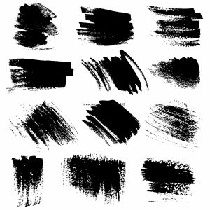 Textured brush strokes drawn ink  set1